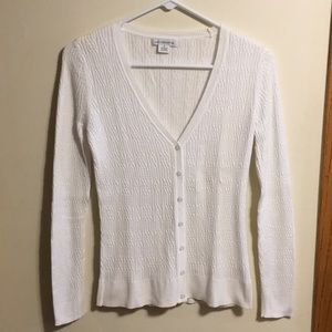Liz Claiborne cable knit white button up cardigan